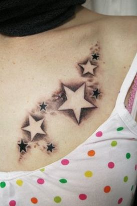 Star Tattoo On Girl Chest